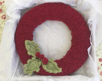 Knitted Christmas Wreath with Holly leaves and berries