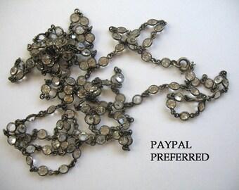 Vintage Sterling & Bezel Set Rhinestone Flapper Necklace ~ Chanel Set Crystal Rhinestones