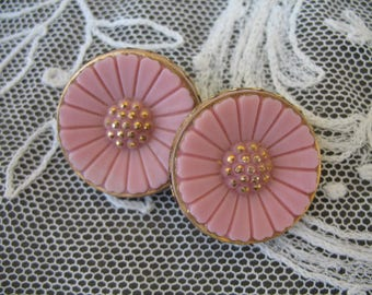 Vintage Glass Flower Button Earrings ~ Clip On