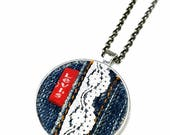 Levi's Denim Necklace Pendant, Levis Jeans Tag, Handmade Gifts Under 20, Upcycled Jewelry