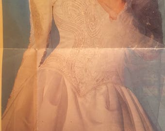 Vintage Eva Haynal Forsyth satin wedding gown.