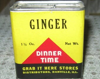 Vintage Dinner Time Cloves Grab It Here Paper Label Spice Tin Danville Ill.