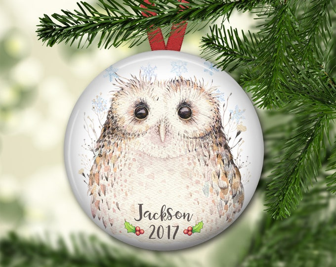 personalized Christmas ornaments for kids - baby's first christmas ornament - baby owl christmas ornament - ORN-PERS-20