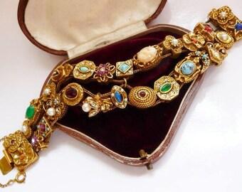 Goldette vintage Victorian slide bracelet   Victorian Revival double row slide charm bracelet   faux stones fantasy jewels   1960s vintage