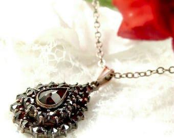 Bohemian garnet drop pendant || ГРАНАТ 147W#PK