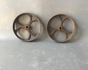 Vintage Cast Iron Wheels, Pair, set,  industrial Wheels, small