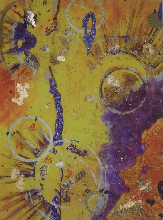 Yellow & Purple Abstract Print