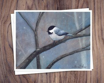 Chickadee Note Cards- 8 Note Cards with Envelopes Featuring a Watercolor Painting of a Carolia Chickadee by Laura D. Poss