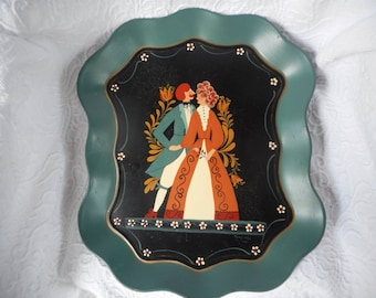 Vintage 1982 Tole Painted Tray-Sweet Couple Holding Hands-Wedding/Engagement-Gift-Wrapped Free