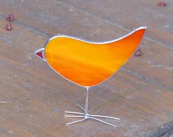 Orange Stained Glass Bird Suncatcher Fun Chick Ornament Bright Decor One of a Kind Gift Idea Made in Canada