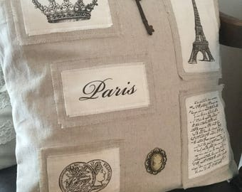 Paris and skeleton key linen pillow cover