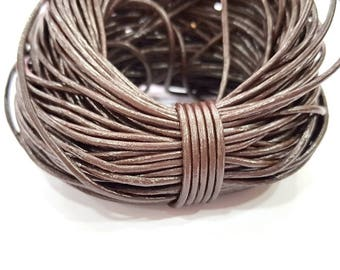 Leather Dark Brown Cord 1mt-3.3 ft (2mm) Round Leather Lacing G7966