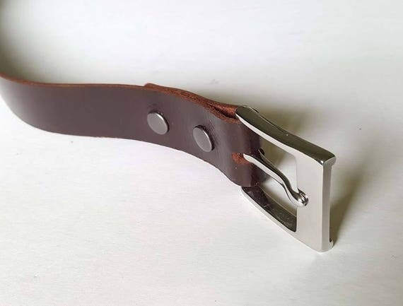 """Mahogany Leather Belt w/ Snaps, Belt Keeper & Buckle ~ Will Custom Cut for You ~ 1-1/2"""" wide Belt for Jeans ~ 1-1/4"""" wide Belt for Suits"""