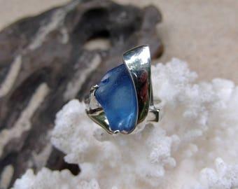 Blue Sea Glass - Sea Glass Ring - Cornflower Blue - Argentium Silver