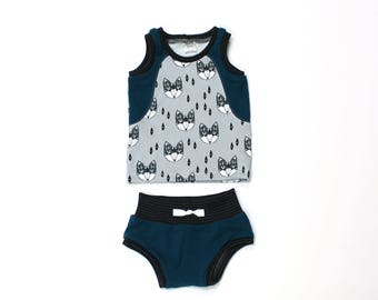 Baby Tank Top and Shorts Set - Baby Boy Outfit  - Baby Shorts - Shorties - Bloomers - Baby Tank Top Shirt - Grey Foxes