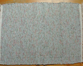 Hand-Woven Rag Rug-Cotton & Cotton/Poly Blend -Gray-Green-Rose Color Print-Union #36 Rug Loom-Floor Covering