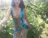 Dress, steampunk, festival, burning man , tattered Dress, sequins, water faerie, dance fusion, size medium, women , Goddess,  gypsy , unique