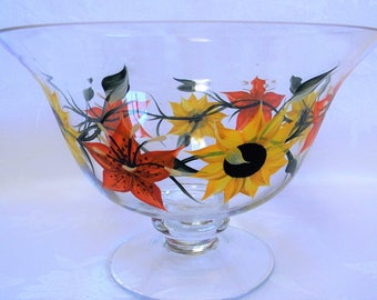 Serving bowl, hand painted bowl, bowl with sunflowers and tiger lilies, pedestal bowl, large bowl