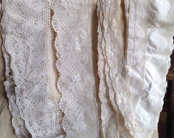 Antique Laces, Vintage French Laces /4pc Bobbin & Fillet Laces, Broderie Anglaise, Floral Needlepoint Dolls Bears Ballet Home Furnishings