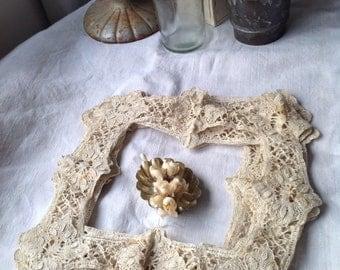 Antique Lace Handmade Lace Edgings Cushions Hankies & Doily Edgings Cream Cotton Vintage Home Decor