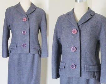 40% OFF SALE Vintage 1960's Purple Wool Dress Suit / Designer Classic David Gaines Secretary Two Piece Woman's Jacket Skirt Business Suit /