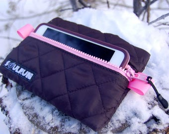 Puffy Phone Pouch - Black with Pink Zipper