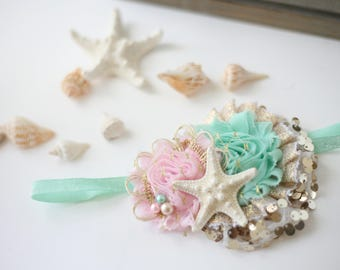 Starfish Wishes - blush pink aquaneutral gold  beach and mermaid inspired gold and pearl starfish headband bow
