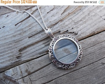 ON SALE Victorian style magnifying glass necklace handmade in sterling silver with rubies