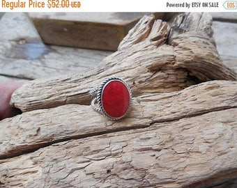 ON SALE Red coral ring handmade in sterling silver 925