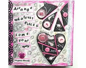 Arrange - Virginia Woolf 6x6 mixed media