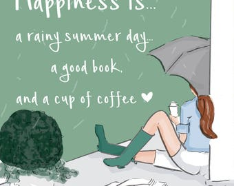 Happiness is  - A Rainy Summer Day -  Wall Art Print - Art Print -  Wall Art -- Print