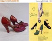 Bi-Annual Sale 35% Off As Fashionable As Paris - Vintage 1940s Fire Engine Red Leather D'Orsay Pumps Heels - 5.5