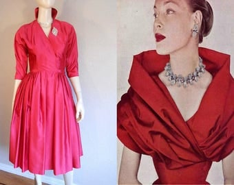 Valentine's Delight - Vintage 1950s Red Satin Collared Full Skirt Cocktail Evening Dress - XS