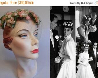 Anniversary Sale 35% Off Audrey Has a Wedding - Vintage 1950s LaRose Rose Pink & Green Velvet Rosebuds Leaf Open Crown Hat Fascinator w/Veil
