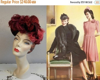 Anniversary Sale 35% Off Her Daughter's Debut - Vintage 1940s WW2 Burgundy Felt Clam Shell Halo High Tower Hat w/Ostrich Feathers