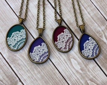 Handmade Jewelry, Valentine's Day, Teardrop Or Oval Pendant, Emerald Green, Purple, Burgundy, Cobalt Blue Fabric, Unique Gift Boho Necklace