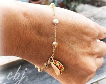 Taco Charm, Taco Charm Bracelet, Taco Bracelet,  Handmade Taco Bracelet, Gold Filled