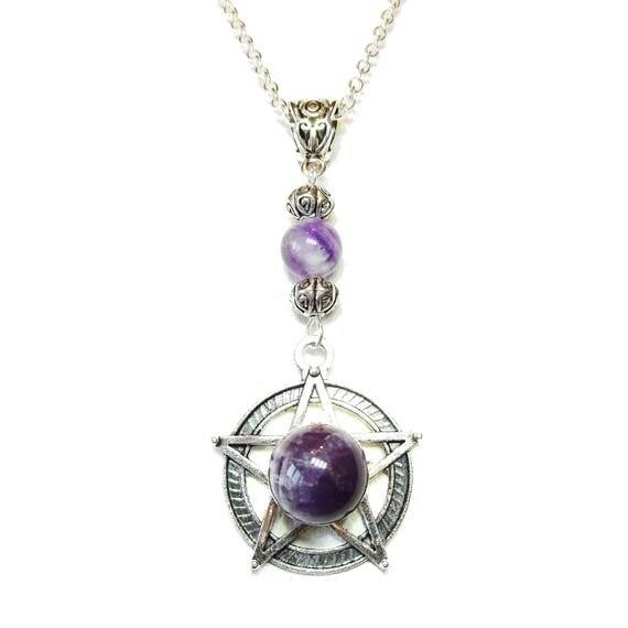 Gothic Pentagram Pendant with Gemstone Purple Amethyst