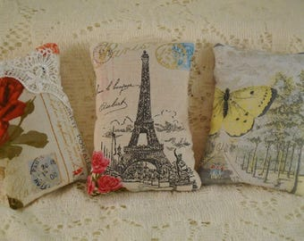 Lavender Paris In Bloom Sachets Eiffel Roses Butterfly Free Shipping