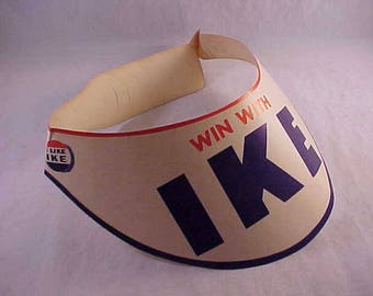 Win With Ike Paper Visor Cap Dwight D Eisenhower Campaign Collectible