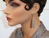Silver Art Deco Earrings - 1920s Earrings - Miss Fisher Jewelry - Art Deco Jewelry - Great Gatsby - Downton Abbey Style Jewelry