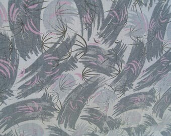 1950s Gray and Pink Atomic Print Bedspread, Marcraft, Barkcloth?, As Is