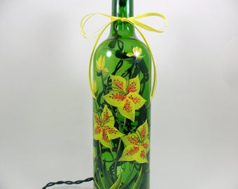 Lighted Wine Bottle Hand Painted Yellow Tiger Lilies Lily Buds - Painted Flower Bottle 750 ml