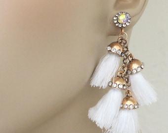 Vintage Inspired Tassel Earrings - White Earrings - Boho Earrings - Brass Earrings - Crystal Stud Earrings - Statement Earrings - Handmade