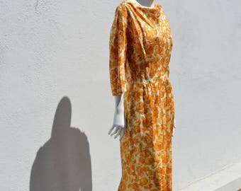 Vintage 50-60's mid century floral dress VEGAN NOS never used acetate dress size 10-12 mad men mod house dress by thekaliman