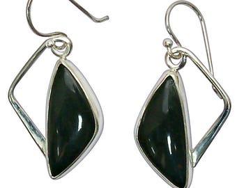 Bloodstone and Sterling Silver Dangle Earrings  ebsf2846