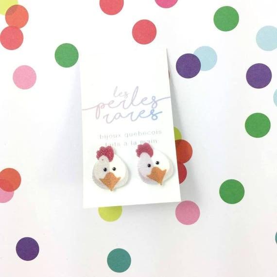 hen, chicken, white, yellow, red, stud earring, print on plastic, shrink plastic, stainless stud, handmade, les perles rares