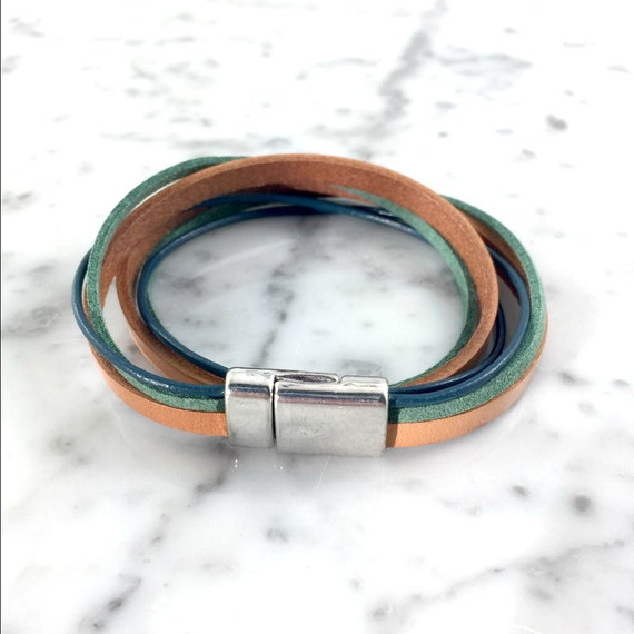 Leather, magnetic, magnet, bracelet, blue, brown, green,  choker necklace, magnet, les perles rares