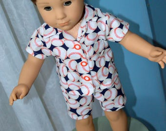 18 Inch Boy Doll Clothes Two Piece Short Pajama Set Baseball Print Boxer Shorts Cotton Shirt by SEWSWEETDAISY