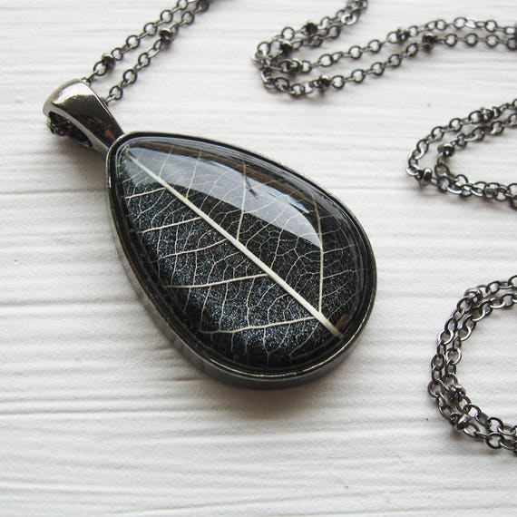Real Leaf Necklace - Charcoal Gray and Gunmetal Botanical Teardrop Necklace